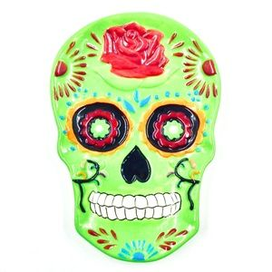 Spoon Rest Sugar Skull Green Day of the Dead